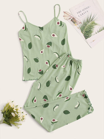 Emma Clothing Women M Avocado Print Lettuce Trim Cami PJ Set