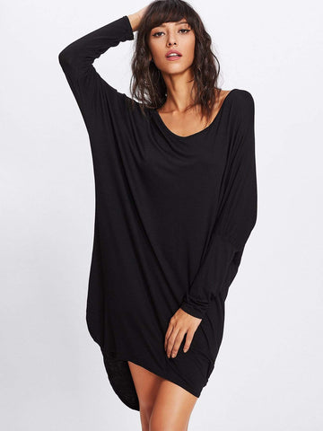 Emma Clothing Women M Batwing Sleeve Dip Hem Tee Dress
