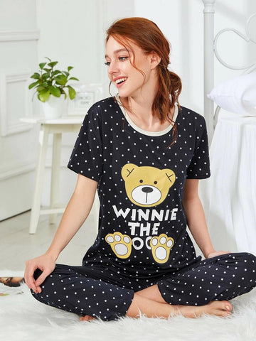 Emma Clothing Women M Bear & Dot Graphic Pajama Set