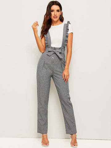 Emma Clothing Women M Belted Button Fly Pants With Ruffle Straps