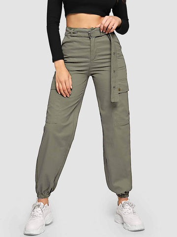 Emma Clothing Women M Belted Eyelet Double Pocket Pants