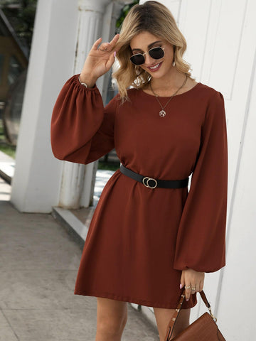 Emma Clothing Women M Bishop Sleeve Belted Tunic Dress