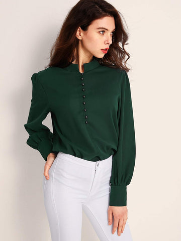 Emma Clothing Women M Bishop Sleeve Button Front Blouse