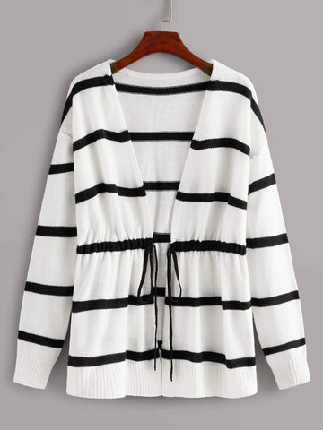 Emma Clothing Women M Black And White Stripe Drawstring Waist Cardigan