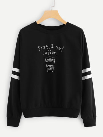 Emma Clothing Women M Black Coffee Cup Letters Print Striped Sweatshirt