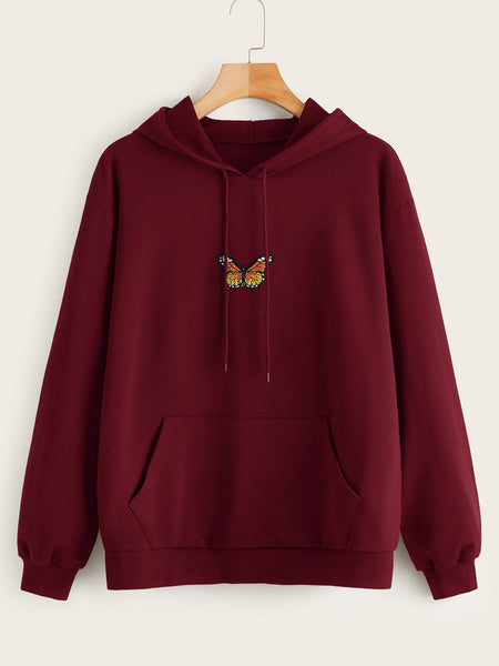 Emma Clothing Women M Butterfly Embroidery Kangaroo Pocket Drawstring Hoodie
