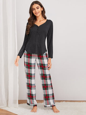 Emma Clothing Women M Button Front Top With Tartan Pants PJ Set