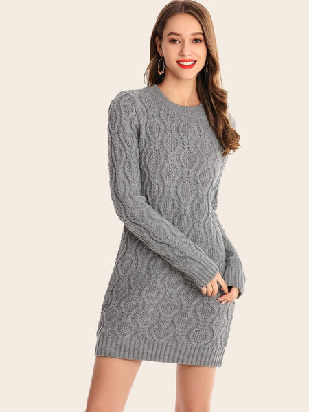 Emma Clothing Women M Cable Knit Fit Sweater Dress