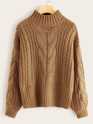 Emma Clothing Women M Cable Knit Mock Neck Jumper