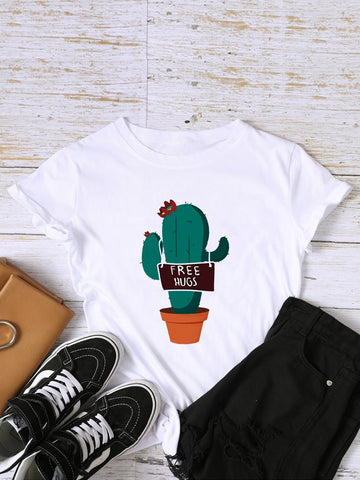 Emma Clothing Women M Cactus And Letter Graphic Tee