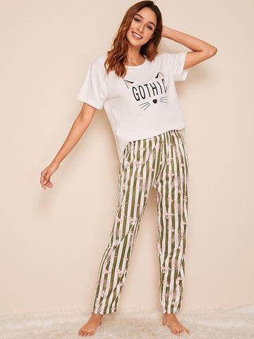 Emma Clothing Women M Cat Print Top With Striped Pants PJ Set