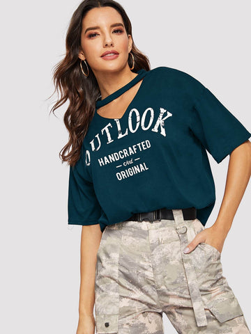 Emma Clothing Women M Choker Neck Letter Graphic Tee