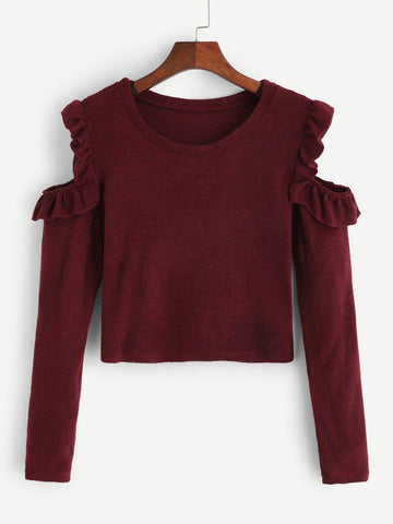 Emma Clothing Women M Cold-Shoulder Frill Detail Sweater