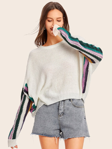 Emma Clothing Women M Color-block Batwing Sleeve Sweater