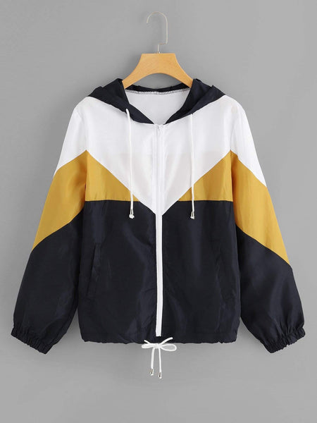 Emma Clothing Women M Color Block Drawstring Hem Hooded Jacket