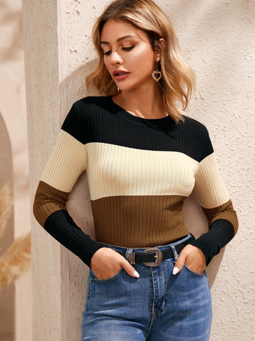 Emma Clothing Women M Colorblock Round Neck Ribbed Knit Sweater