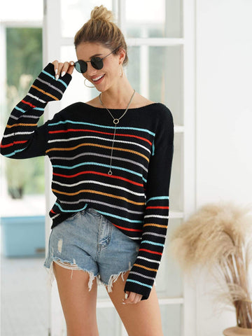 Emma Clothing Women M Colorful Striped Boat Neck Sweater