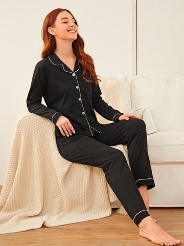 Emma Clothing Women M Contrast Binding Button Front Pajama Set