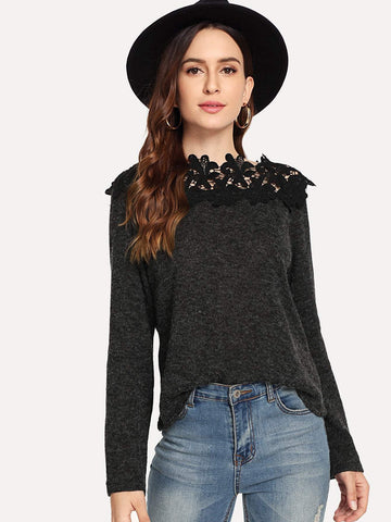 Emma Clothing Women M Contrast Lace Solid Jumper