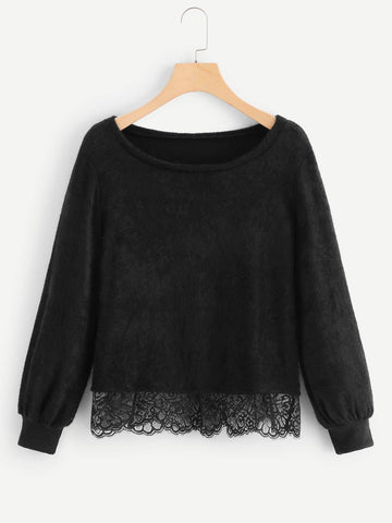 Emma Clothing Women M Contrast Lace Solid Sweater