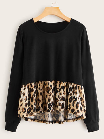 Emma Clothing Women M Contrast Leopard Long Sleeve Tee