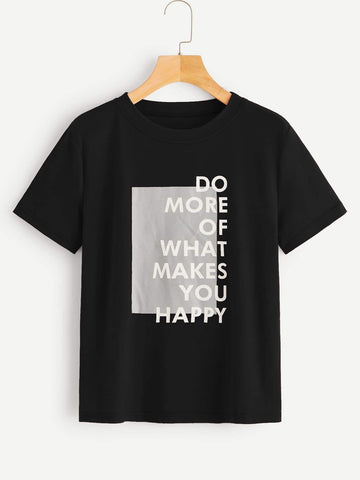Emma Clothing Women M Contrast Panel Slogan Graphic Tee
