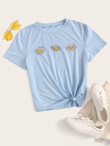 Emma Clothing Women M Daisy Floral Short Sleeve Tee