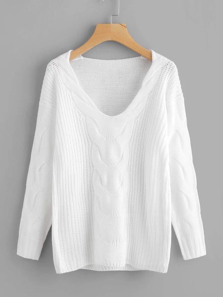 Emma Clothing Women M Drop Shoulder Cable Knit Sweater