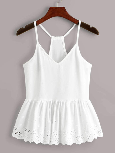 Emma Clothing Women M Eyelet Embroidery Peplum Cami Top