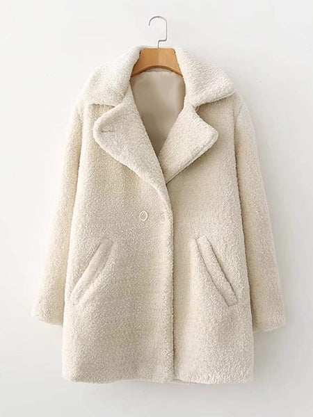 Emma Clothing Women M Faux Fur Double Breasted Coat