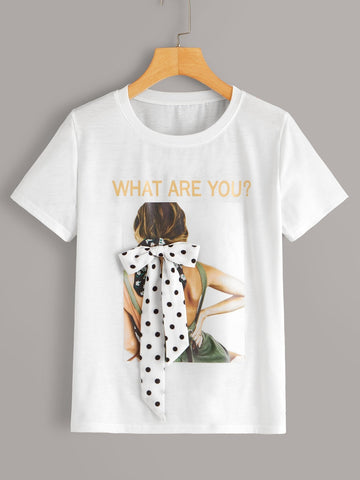 Emma Clothing Women M Figure & Letter Graphic Tie Front Tee