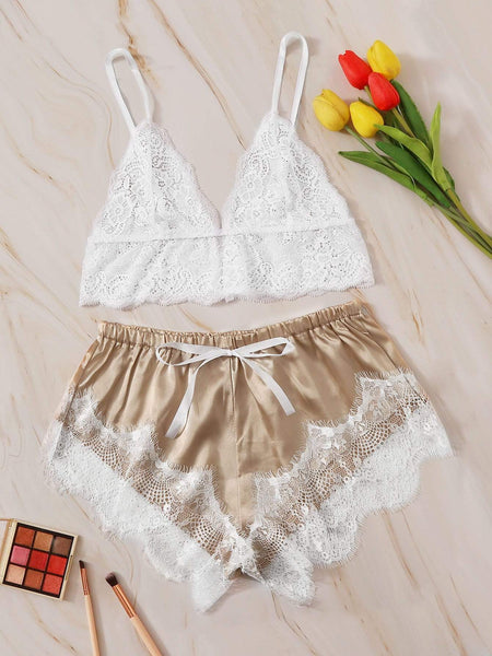 Emma Clothing Women M Floral Lace Bralette With Satin Shorts