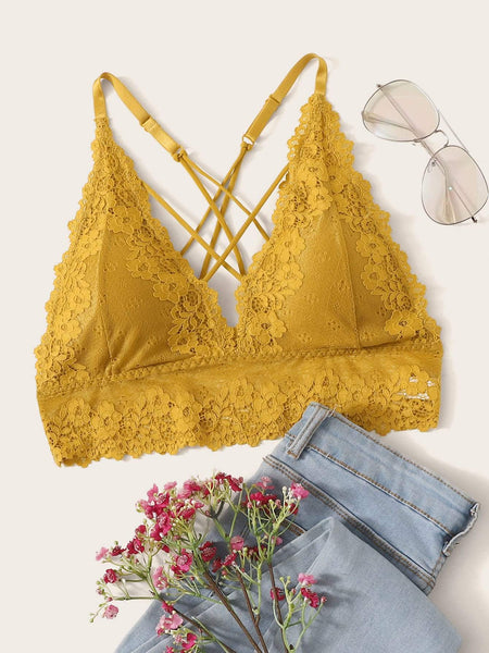 Emma Clothing Women M Floral Lace Crisscross Back Longline Bralette