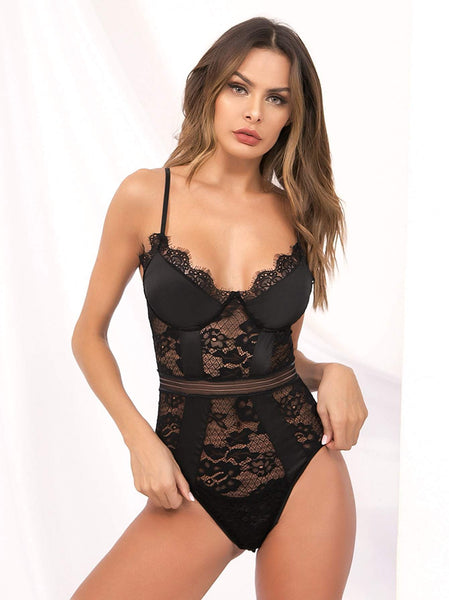 Emma Clothing Women M Floral Lace Sheer Teddy Bodysuit