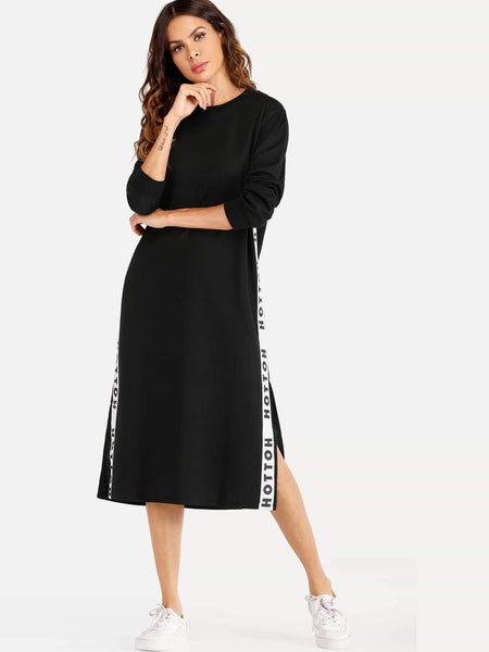 Emma Clothing Women M Letter Tape Side Split Sweatshirt Dress