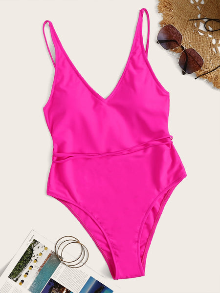 Emma Clothing Women M Neon Pink Criss Cross One Piece Swimsuit