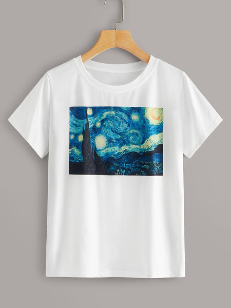 Emma Clothing Women M Oil Painting Print Short Sleeve Tee