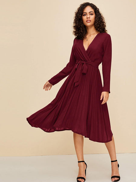 Emma Clothing Women M Pleated Hem Surplice Belted Dress