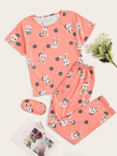 Emma Clothing Women M Rabbit Print Polka Dot PJ Set With Eye Mask