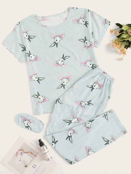 Emma Clothing Women M Rabbit Print Striped PJ Set With Eye Mask