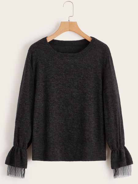 Emma Clothing Women M Solid Contrast Mesh Sweater