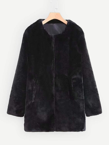 Emma Clothing Women M Solid Faux Fur Coat