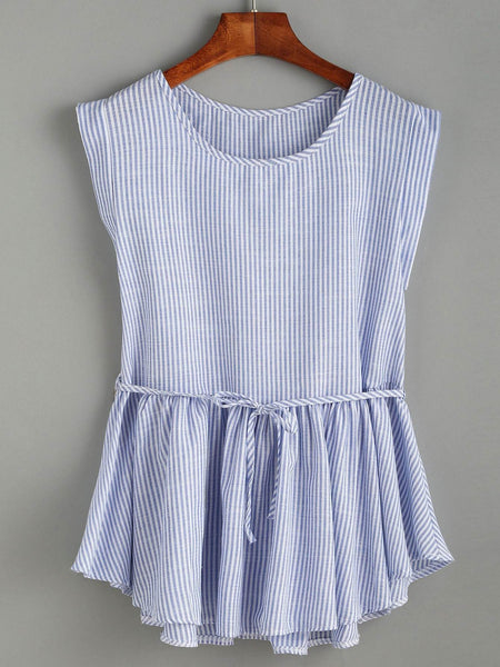 Emma Clothing Women M Striped Belted  Peplum Top