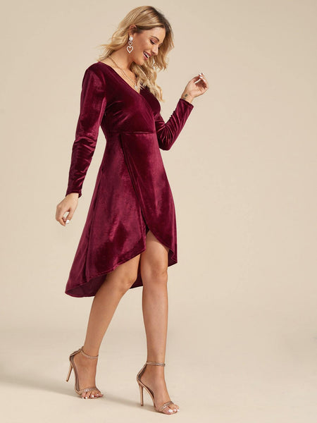 Emma Clothing Women M Surplice Front Tulip Hem Velvet Dress
