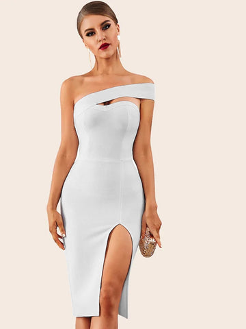 Emma Clothing Women S Adyce Solid One Shoulder Split Thigh Pencil Dress