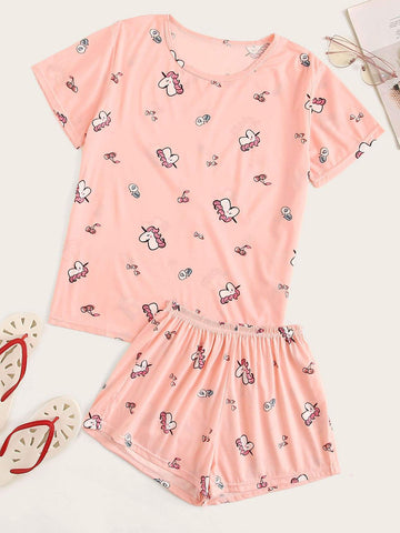 Emma Clothing Women S Allover Unicorn & Cherry Pajama Set