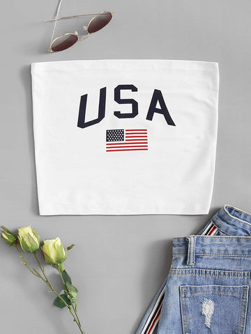 Emma Clothing Women S American Flag Print Tube Top