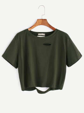 Emma Clothing Women S Army Green Distressed Crop Tee