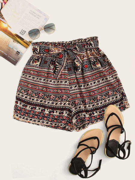Emma Clothing Women S Aztec Print Self Tie Paperbag Shorts