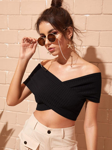 Emma Clothing Women S Bardot Crossover Crop Top